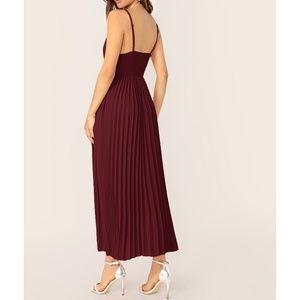MBM Unlimited Dresses - Maroon Burgundy Sleeveless Pleated Maxi Dress